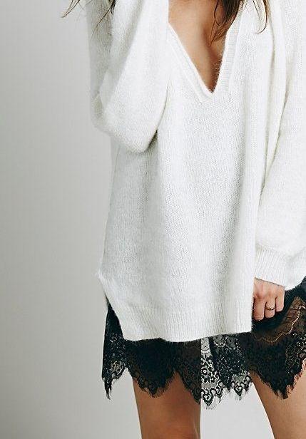 sweter oversize i spódnica