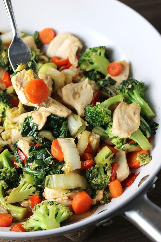 kurczak z brokułami i marchewką